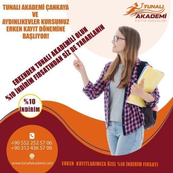 Tunalı Akademi Çankaya ve Aydınlıkevler Kursları Erken Kayıtları Başlıyor